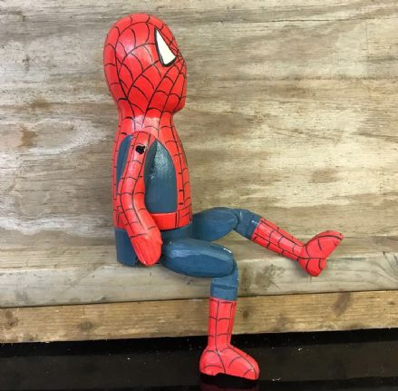 Spiderman Comic Book Hero Puppet Hand Carved Wooden Sitting Ornament - LARGE